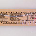 ダイアン35錠の背面図のブリスター